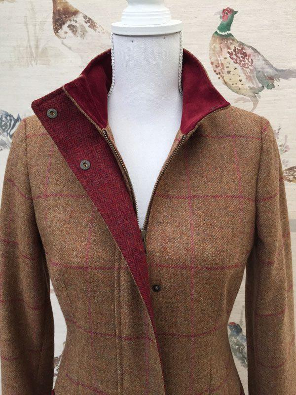 Gamebirds Clothing Ladies Kingfisher Tweed Coat Cranberry Check suede neck