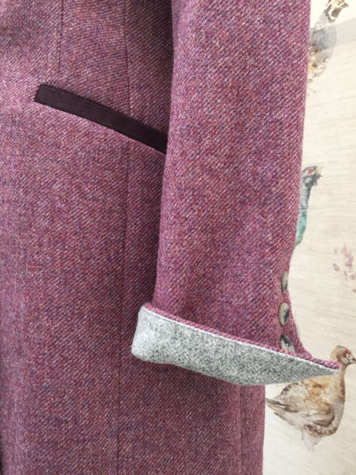 Gamebirds Clothing Ladies Kingfisher Tweed Coat Mulberry cuff detail