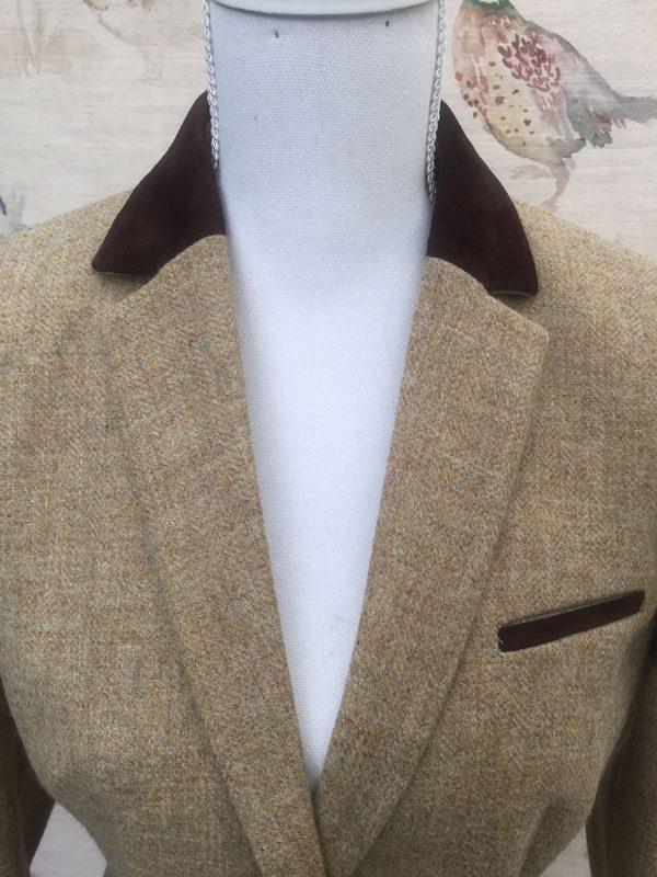 Gamebirds Clothing Ladies Curlew British Tweed Jacket Oatmeal suede collar detail