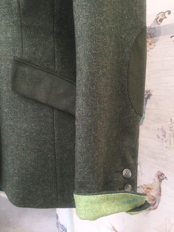 Gamebirds Clothing Ladies Curlew British Tweed Jacket Pine Green Cuff detail