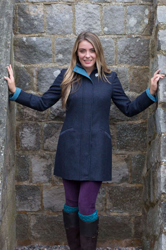 Gamebirds Clothing Ladies Kingfisher British Tweed Coat Midnight Blue