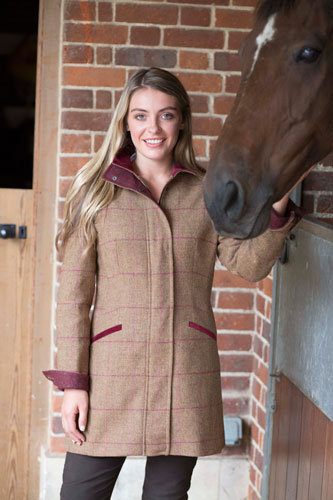 Gamebirds Clothing Ladies Kingfisher British Tweed Coat Cranberry Check