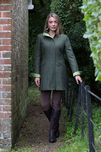 Ladies Kingfisher British Tweed Coat Pine Green