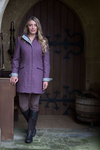 Gamebirds Clothing Ladies Kingfisher British Tweed Coat Mulberry