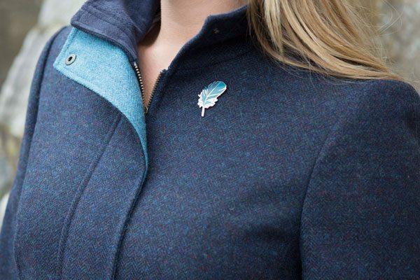 Ladies Kingfisher British Tweed Coat Midnight Blue
