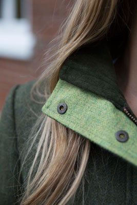 Gamebirds Clothing Ladies Kingfisher British Tweed Coat Pine Green