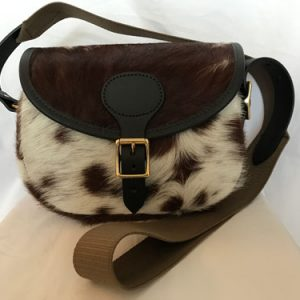 cow hide cartridge bag made in UK